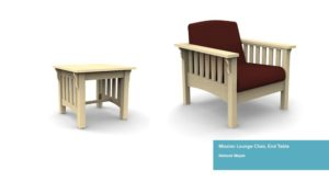 examples of DCIs mission style furniture side table and lounge chair