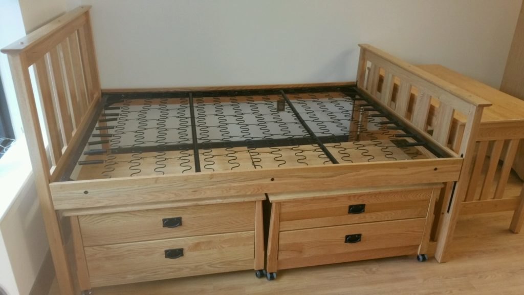 duke university dorms solid wood desk, bed, underbed storage