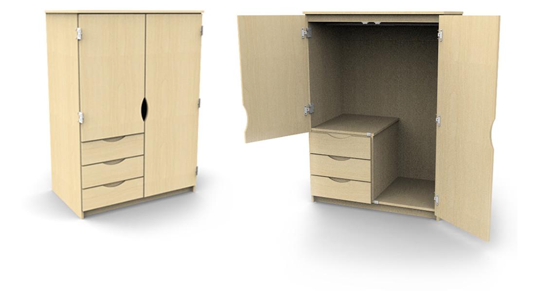 Campus Wardrobe 3 partial drawers