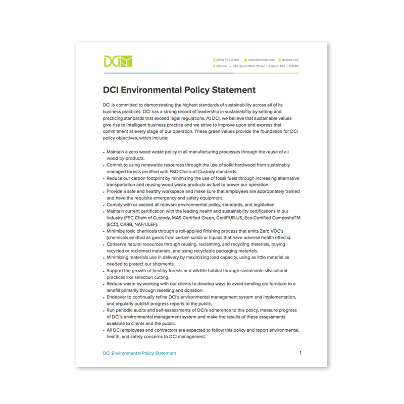 DCI Furniture Environmental Policy Statement