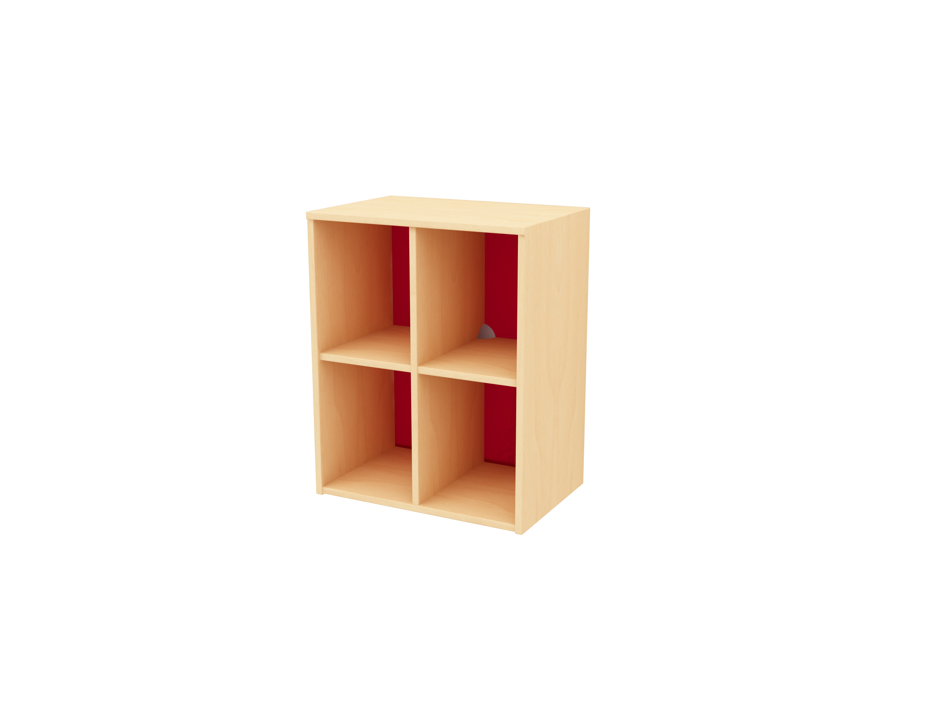 4 cubby storage red